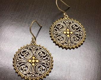Art Deco Two Tone Yellow Gold Earrings - Art Deco Dangling Earrings - Gold Drop Earrings - Beaded Gold Earrings - Handmade Silver Earrings