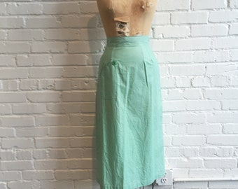 1950s Seafoam Green Skirt // 50s Green Everglaze Skirt // Vintage 1950s Tanbro Skirt