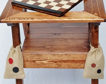 Chess / Backgammon / Checkers Table, Outdoor Game Table, Wood Game Table,  Reclaimed