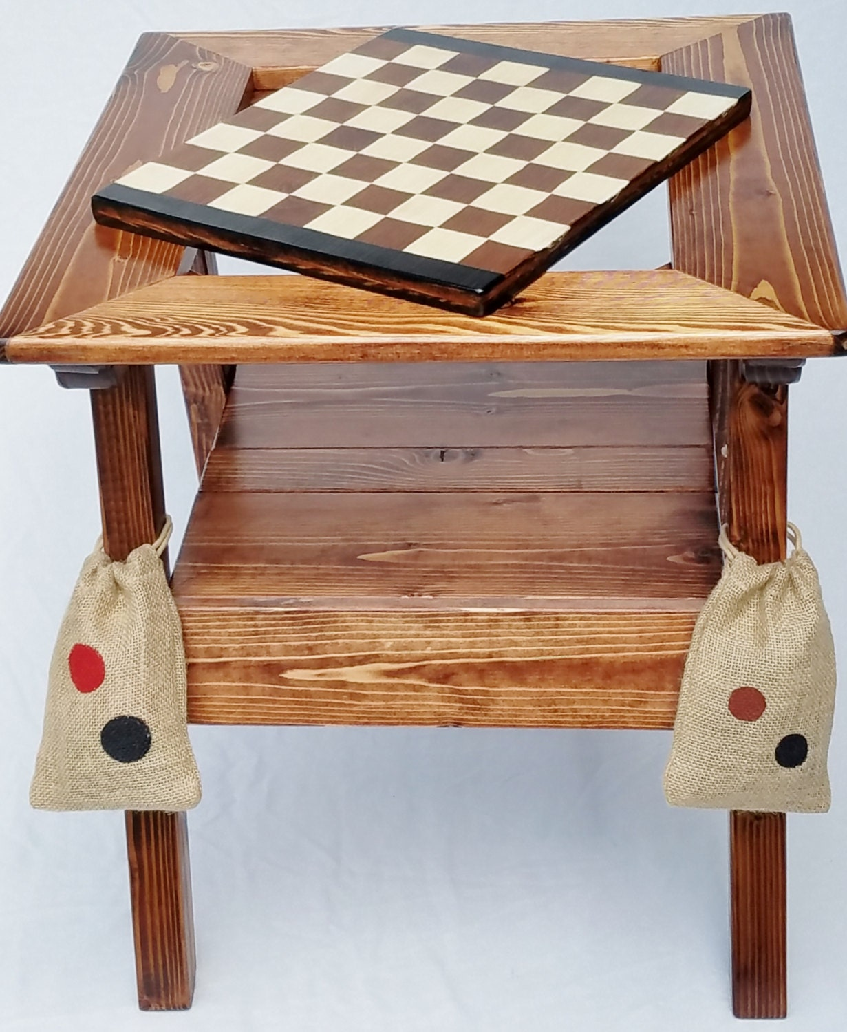 Chess Backgammon Checkers Table Outdoor Game Table Wood