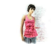 Knit summer top - sleeveless top - summer top - Hollister top - Bohemian top  -  size Medium - # 90