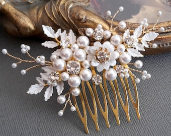 Enamel Floral Wedding Hair comb,Crystals and Swarovski pearls comb, wedding pearl comb, white wedding comb, veil comb,floral comb