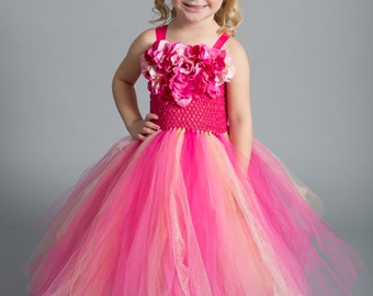 Flower girl dress - Pageant dress- Glitter tutu dress - tulle dress-Pink Tutu Dress -Infant/Toddler Dress- Princess dress- Dance- Pink Dress