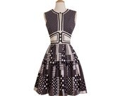 1960s Vintage Black and White Patchwork Dress, Midcentury Retro 60s Modern Geometric Polka Dot Cotton Party Dress by Howard Wolf X-Small