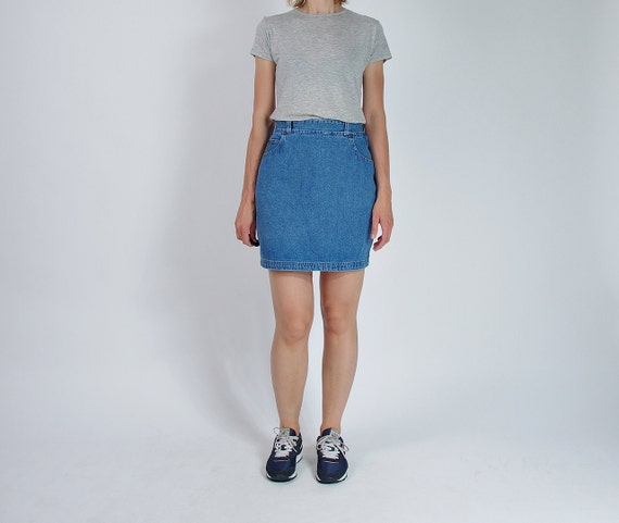 SALE - 80s Armani Jeans High Waisted Denim Street Style Mini Skirt Made in Usa / Size 14 l/xl