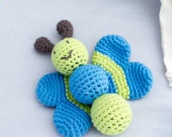 Baby Rattle - Organic Baby Rattle - Soft Baby Rattle - Butterfly Toy - Organic Baby Toys - Baby Shower Gift - Buterfly Stuffed Animal