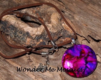 20% SALE  Pink and Purple Circle Pendant & Necklace - Alcohol Ink Colors