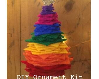 Rainbow Christmas ornament DIY Kit, Felt Christmas Tree Ornament, Rainbow colors