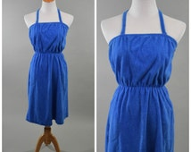 70s/80s Blue Terrycloth Towel Dress // Convertible Halter or Strapless // Disco Era Beach Poolside Resort Wear