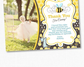Bumble Bee Thank You Card, Bumble Bee Birthday, Bumble Bee, Bumble Bee Birthday Party, Bumble Bee Photo Card, Bees, Flowers