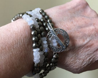 Moonstone and pyrite toggle wrap bracelet