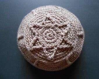 Merino Wool Frik Kippah / Yarmulke / Mens Large Kippah / Light Brown Yarmulke / Wool Kippot