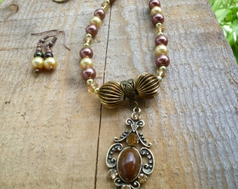 necklace and earring set, deep warm browns and golds
