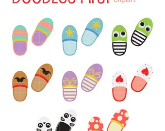 Bedroom Slippers Digital Clip Art for Scrapbooking Card Making Cupcake Toppers Paper Crafts