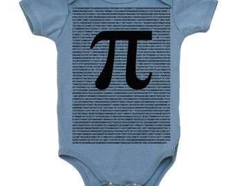The Irrational Pi Baby Girl or Baby Boy Bodysuit, Infant Raglan Shirt, Cotton Onepiece Made In The USA Geek Baby Clothes