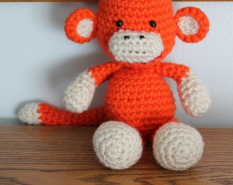 Handmade Crochet Custom Monkey Stuffy Photo Prop Amigurumi Little Girl Boy Birthday Gift Perfect Baby Shower Gift for him for her under 50