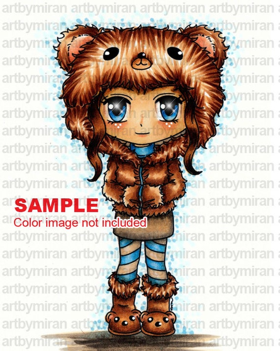 Digital Stamp - Beary Sweet (#268), Christmas Digi Stamp, Coloring page, Printable Line art for Card and Craft Supply