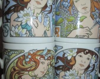 Set of 4 Art Nouveau Goddess Mugs by Original Bohemia