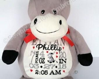 Personalized Baby Gift, Stuffed Animal, Donkey Stuffed Animal, Monogrammed Stuffed Animal,Birth Announcement Stuffed Animal