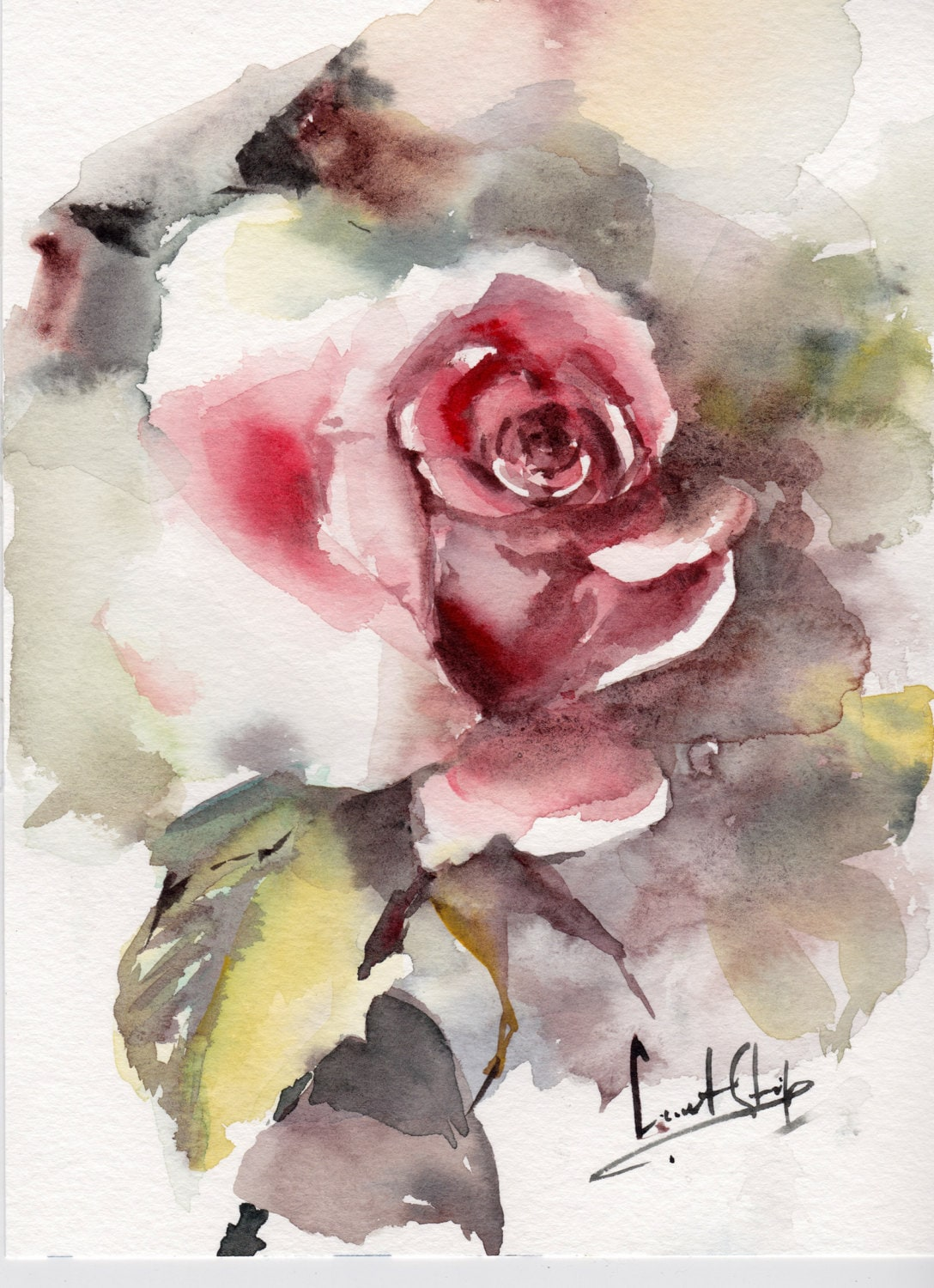 Rose original watercolor painting rose watercolour art for How to paint a rose in watercolour