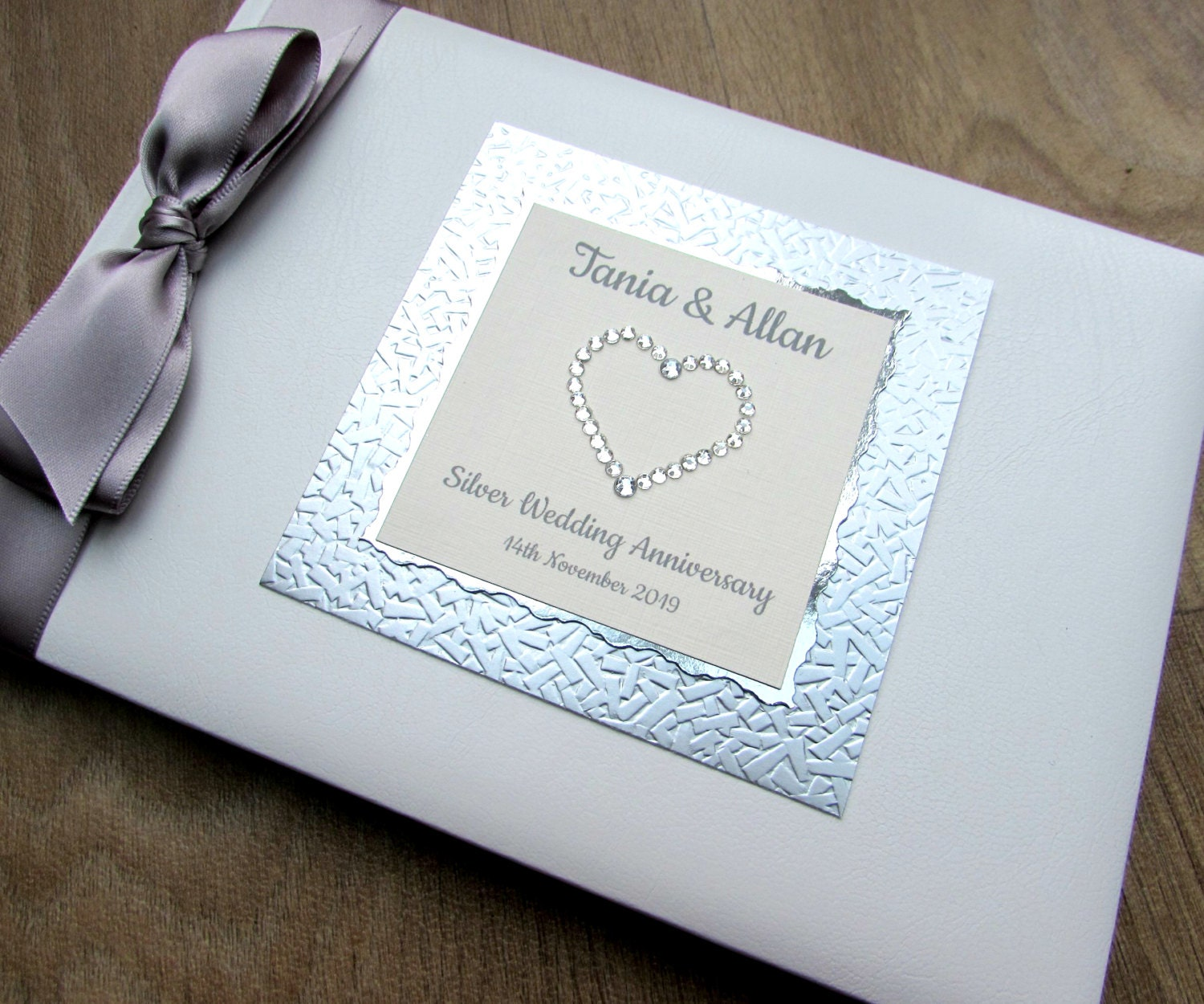 Silver 25th Wedding Anniversary: Silver 25th Wedding Anniversary Guest Book Personalised