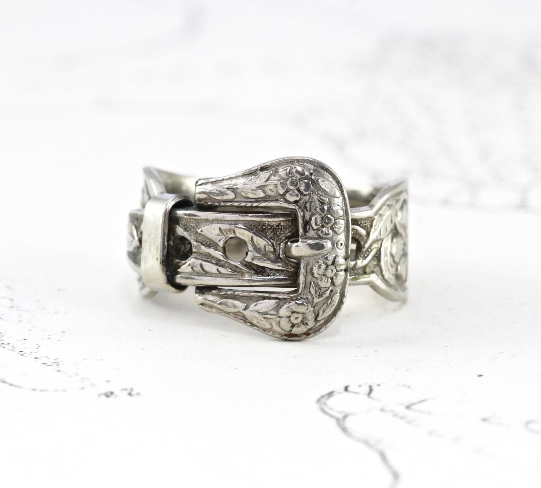 vintage sterling tooled western belt ring silver floral