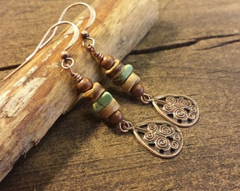 Teardrop Earrings, Metal Earrings, Copper Earrings, Boho Earrings, Drop Earrings, Dangle Earrings