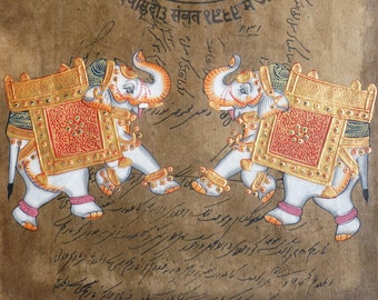 India Lucky Elephant Miniature Painting on Vintage Paper from Jaipur