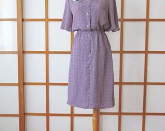Vintage Purple Summer Dress with Rose Brooch, 1970s, Japan, S or M