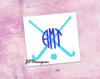 Field Hockey Monogram Sticker