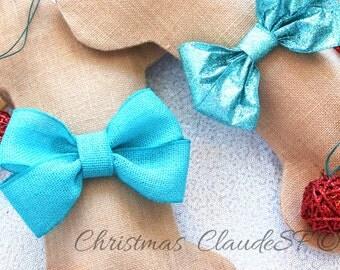 Personalized Dog Bone Christmas Stocking, Unique Dog Pet Gifts, Burlap Stocking with Turquoise Glitter bows, Beautiful!