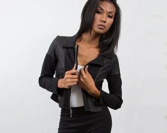 Vegan Leather/ Ponte Moto Jacket