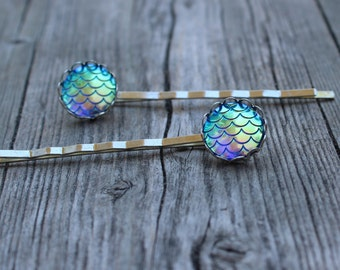 ON SALE Blue Mermaid/Dragon Scale Hair pins. Mermaid scale bobby pins, hair accessory, hair jewelry.