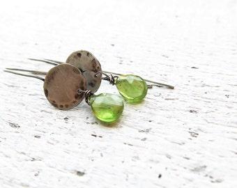 Peridot earrings. Artisan peridot earrings.  Handcrafted oxidized sterling silver earrings. August birthstone