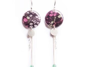 Boucles d'oreille pendantes dentelle prune - Argent 925