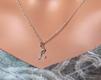 Sterling Silver Cursive L Initial Necklace, L Letter Necklace, Cursive L Initial Necklace, Silver L Letter Necklace, L Letter Necklace