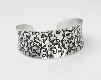 Sterling Silver Bracelet with Etched Scrollwork, Silver Cuff Bracelet