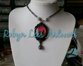 Black Victorian Style Night Sky Sunset Stars Necklace with Crystal Shamballa Beads & Metallic Blue Seed Beads and Shiny Rainbow Drop Bead
