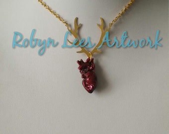 Brass Deer Stag Antlers with Red Anatomical Heart Necklace on Gold Plated Chain