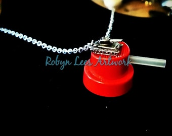 The Artist's War Necklace with Red Needle Spray Paint Cap and Silver 3D Tank