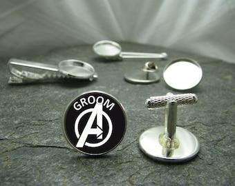 Avengers GROOM Cufflinks, Tie Clips, Tie Tack, Lapel Pin