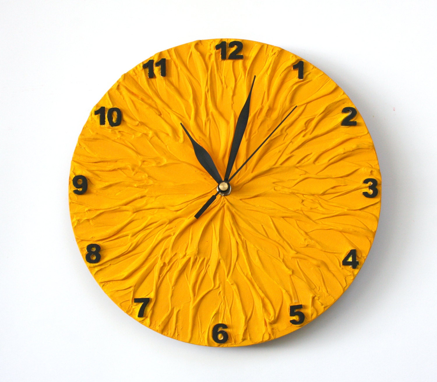 Yellow Sun Wall Decor : Wall clock with numbers sun yellow unique