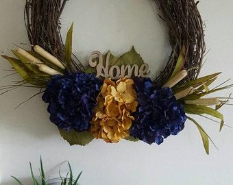 Yellow Hydrangea Wreath, Blue Hydrangea Wreath, Hydrangea Wreath, Grapevine Wreath, Hydrangea Grapevine Wreath, Spring Wreath