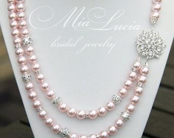 Bridal Necklace, Wedding Necklace, Bride, Blush pearl necklace, Blush Bridal Jewelry, Necklace Jewelry, Blush necklace, art. e06-b14-n05