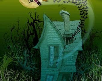 WITCH & BATS art print by Dave Woodman