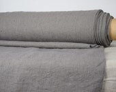 Pure 100% linen fabric. Gray / grey color, mushroom shade. 290gsm. Heavy, thick, softened, washed, densely woven, homespun.