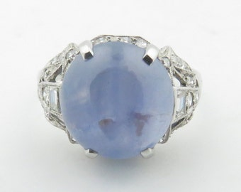 Vintage Estate Art Deco 1930-1940's Platinum Translucent Medium Light Grayish Blue Star Sapphire & Diamond Ring.