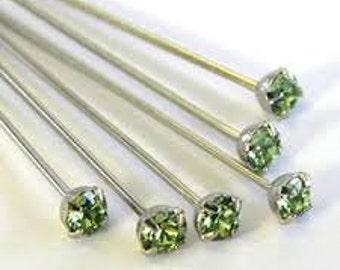 Swarovski Headpins,12 pcs,Peridot Crystal Headpins,Head Pins For making Earrings,Jewelry,Green Crystal Head Pins,Silver Plated Headpins