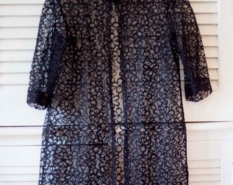 Vintage Black Lacey Overcoat and Negligee