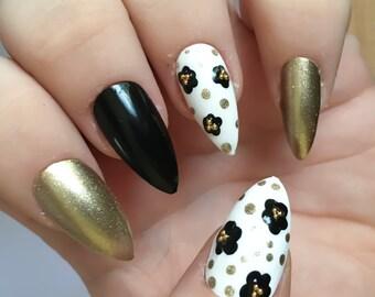 Gold Flower Fake Nails, Black False Nails, Daisy Nail Art, Glue On Nails, Press on, Acrylic, Faux Ongles, Kawaii Nail Art, Microbeads